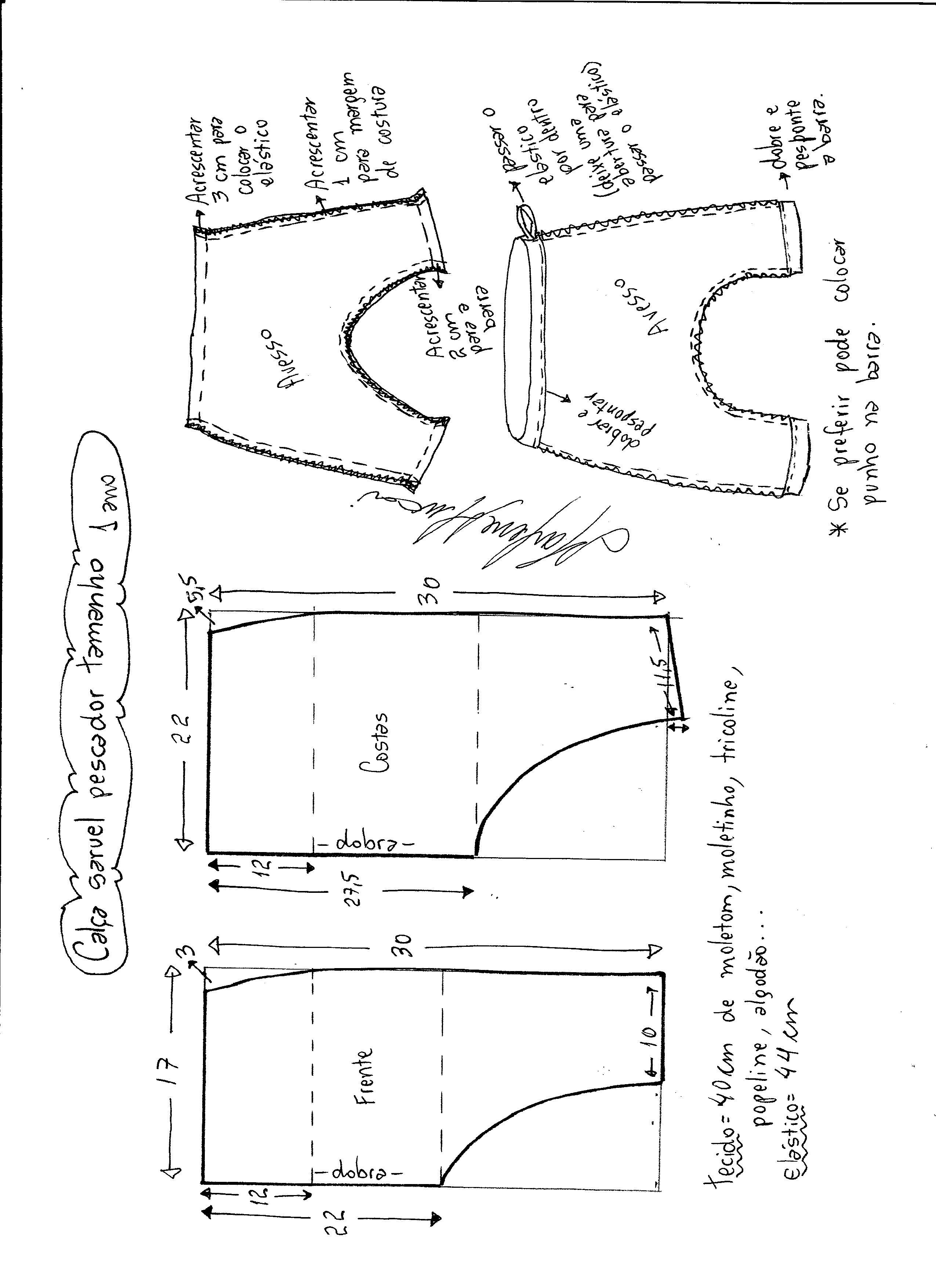 Esquema de modelagem de calça pescador saruel tamanho 1.