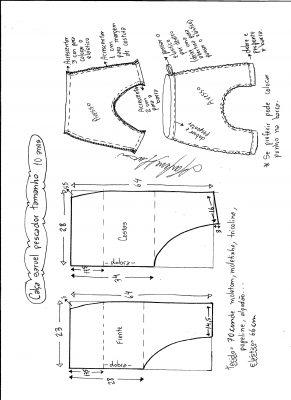 Esquema de modelagem de calça pescador saruel tamanho 10.