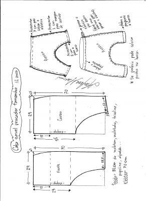 Esquema de modelagem de calça pescador saruel tamanho 12.