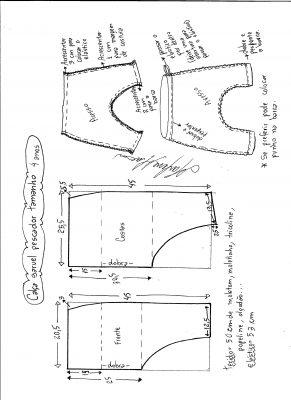 Esquema de modelagem de calça pescador saruel tamanho 4.