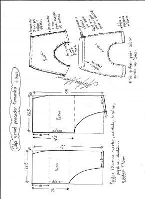 Esquema de modelagem de calça pescador saruel tamanho 6.
