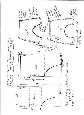 Esquema de modelagem de calça pescador saruel tamanho 14.