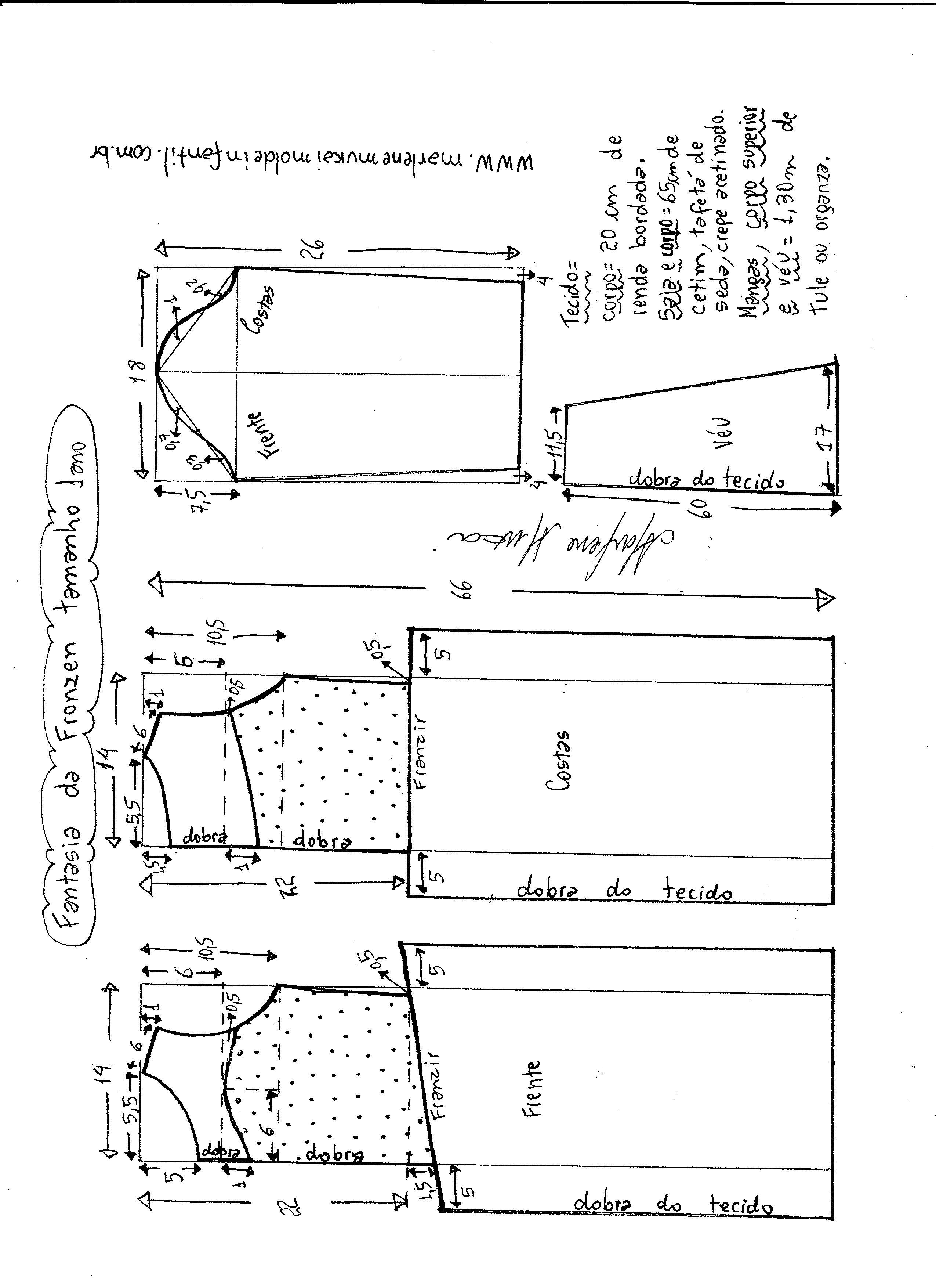 Esquema de modelagem de vestido fantasia fronzen tamanho 1