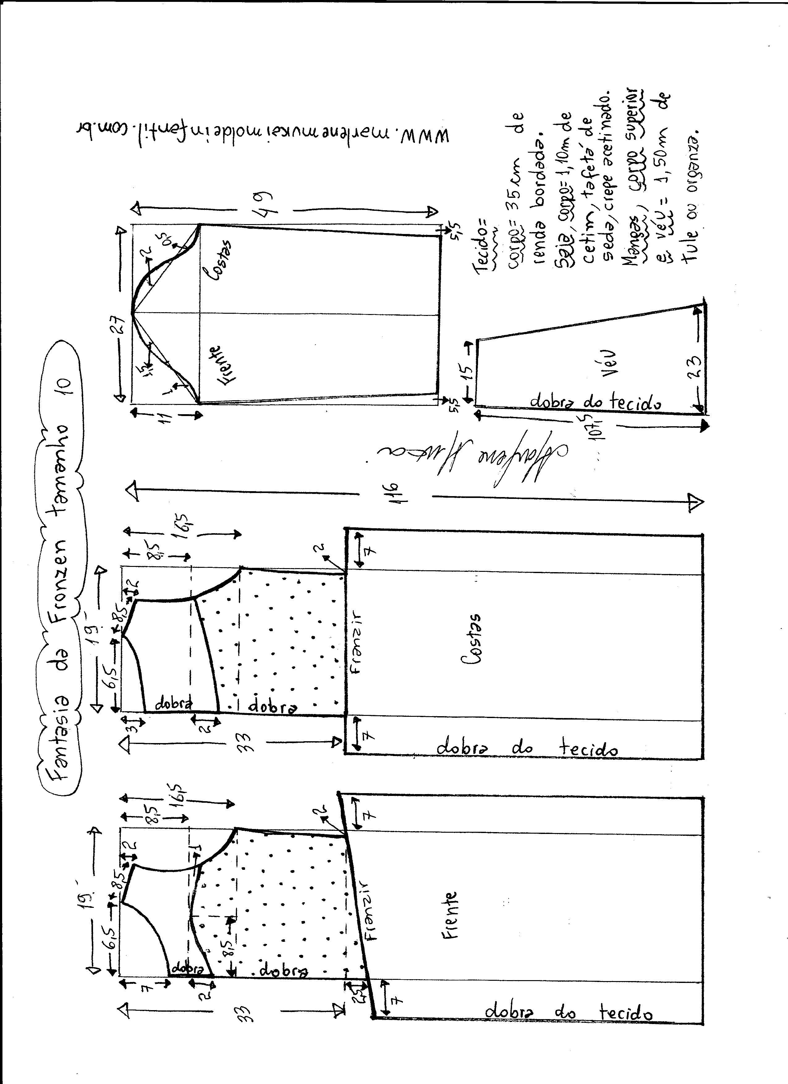 Esquema de modelagem de vestido fantasia fronzen tamanho 10.