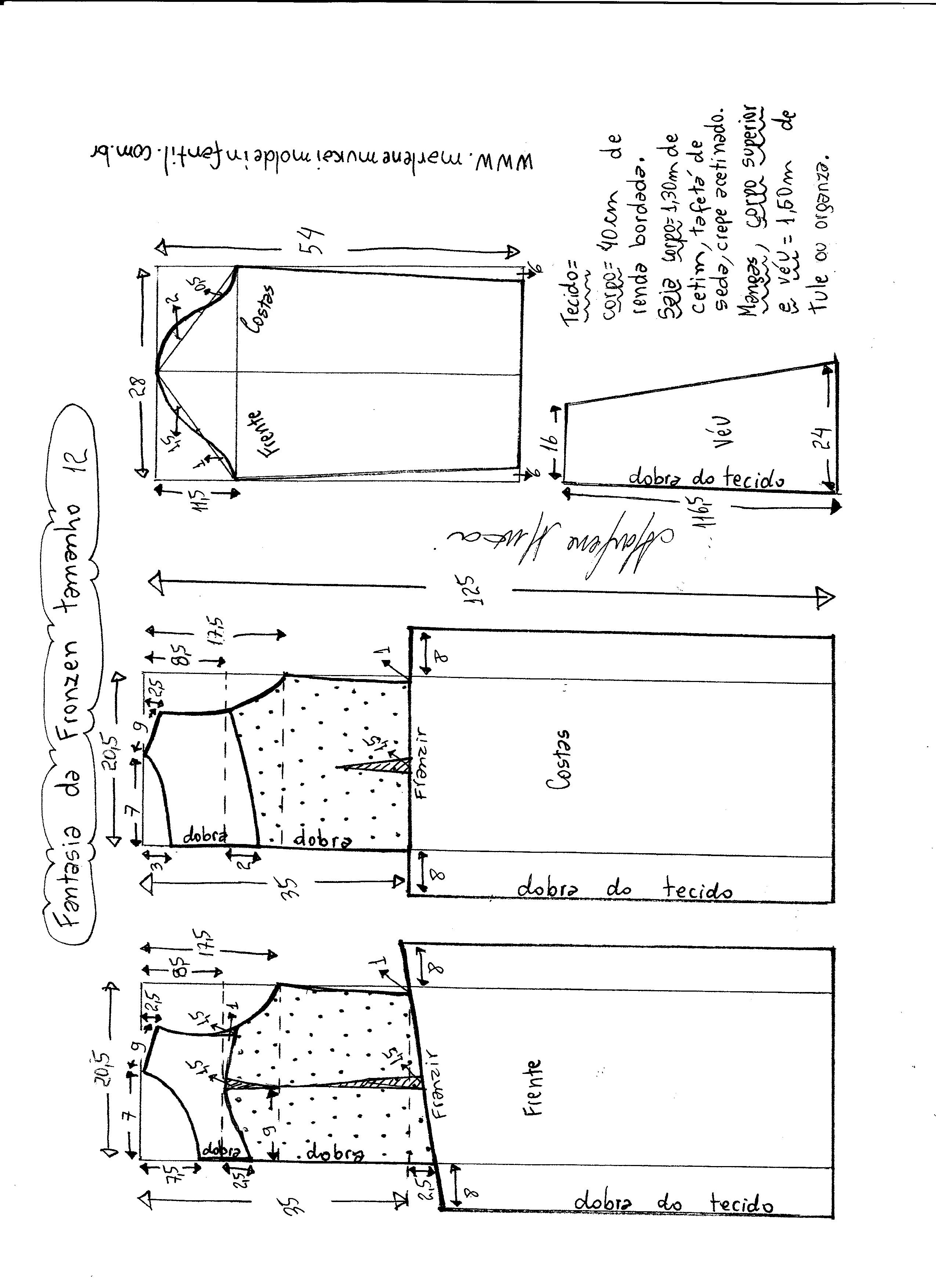 Esquema de modelagem de vestido fantasia fronzen tamanho 12.