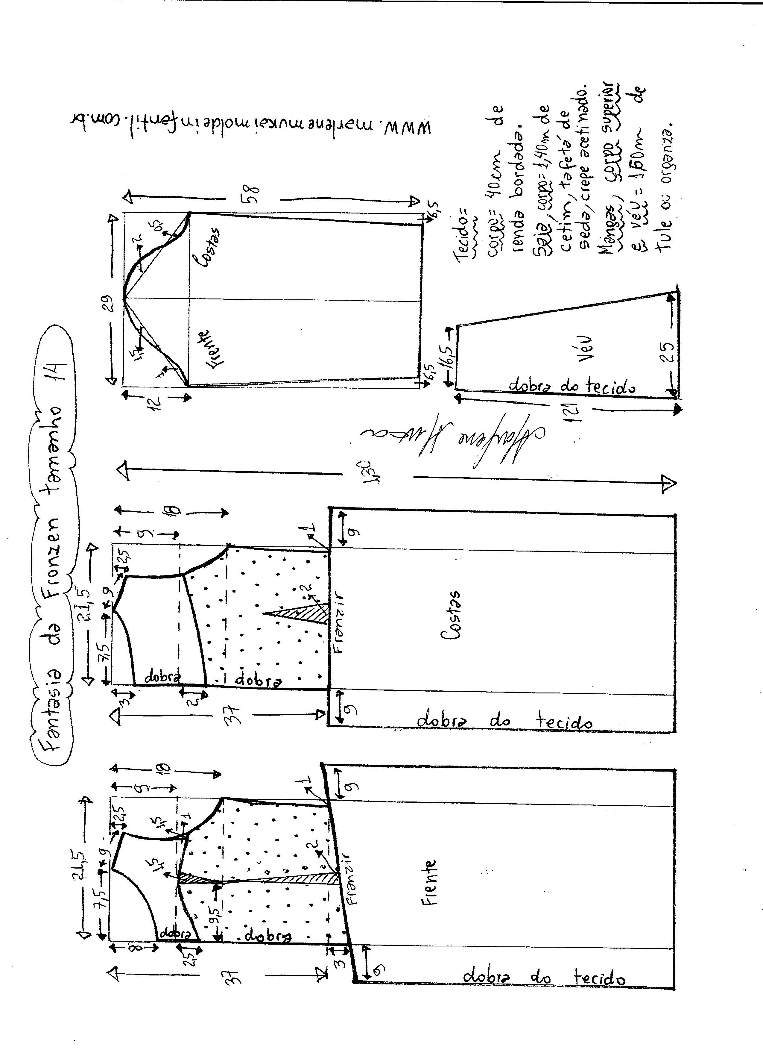 Esquema de modelagem de vestido fantasia fronzen tamanho 14.