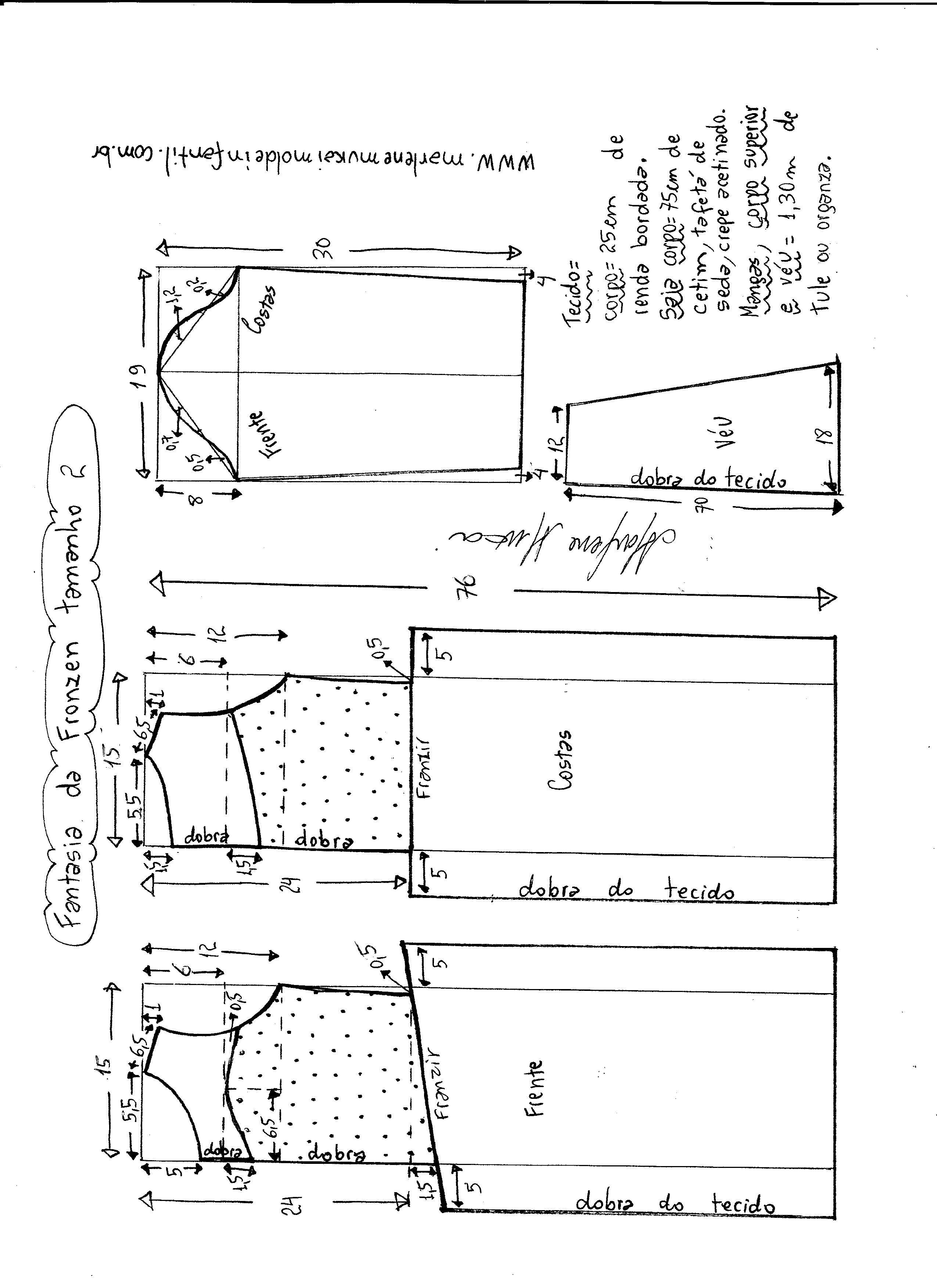 Esquema de modelagem de vestido fantasia fronzen tamanho 2.
