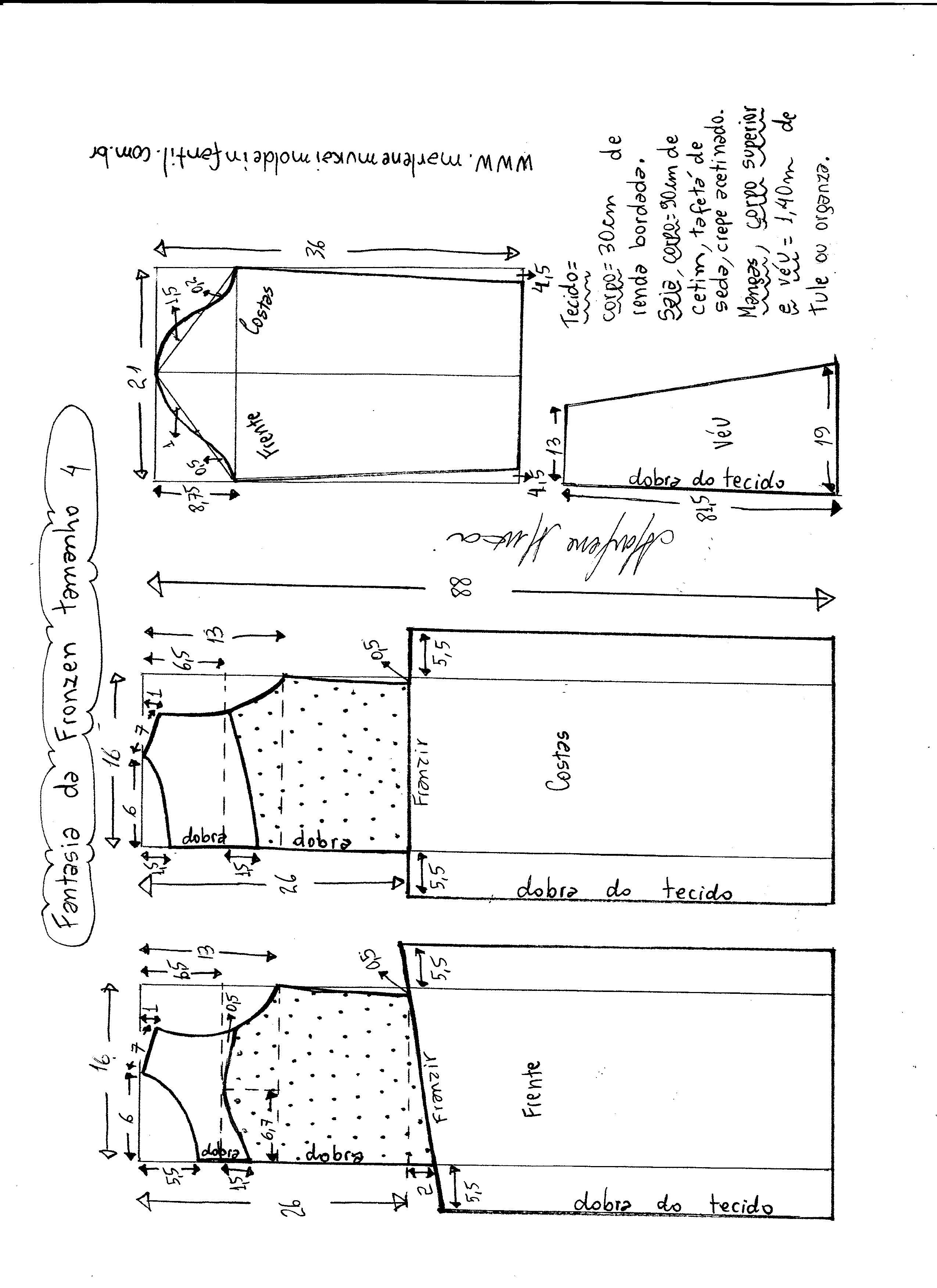 Esquema de modelagem de vestido fantasia fronzen tamanho 4.