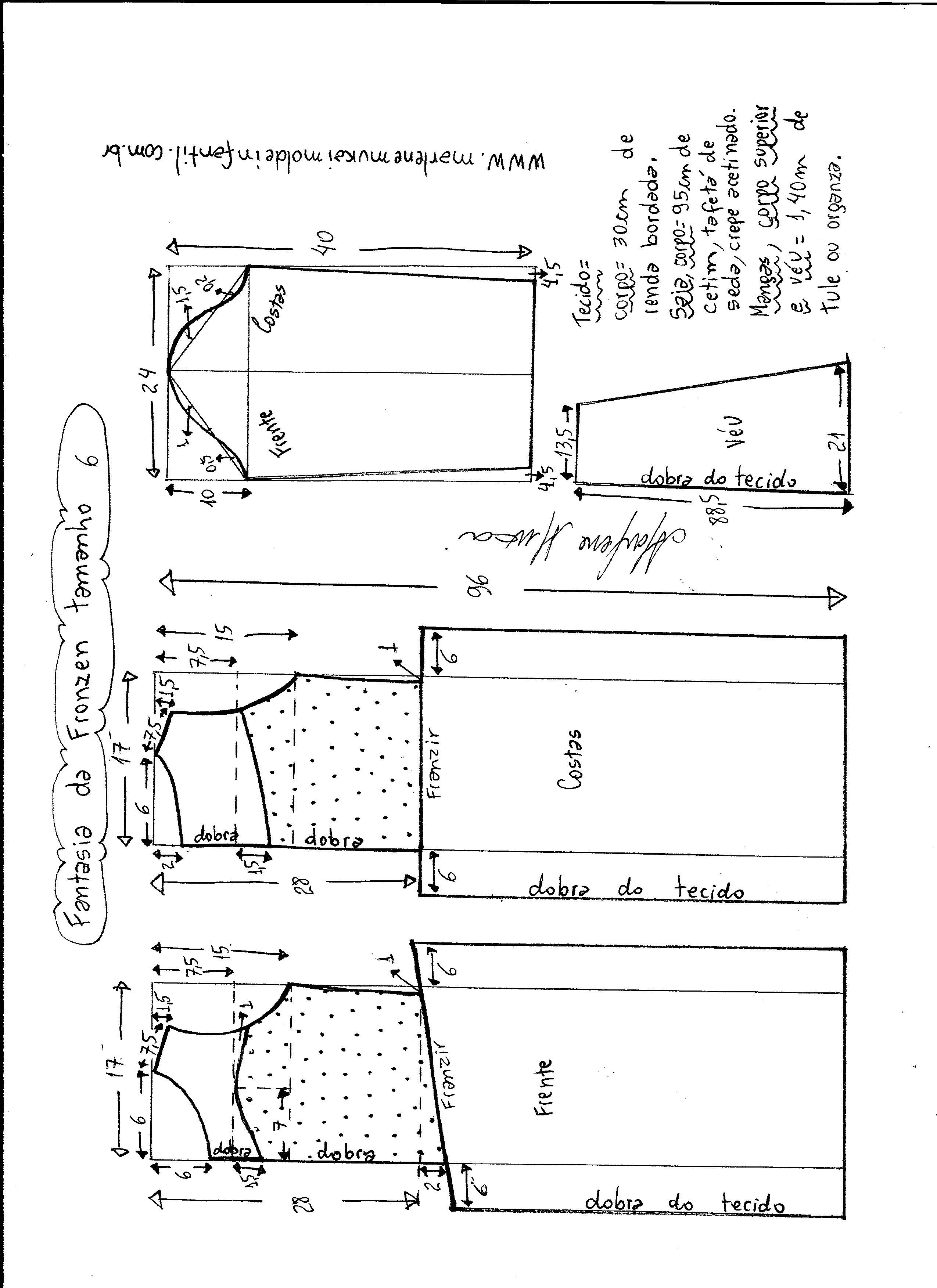 Esquema de modelagem de vestido fantasia fronzen tamanho 6.