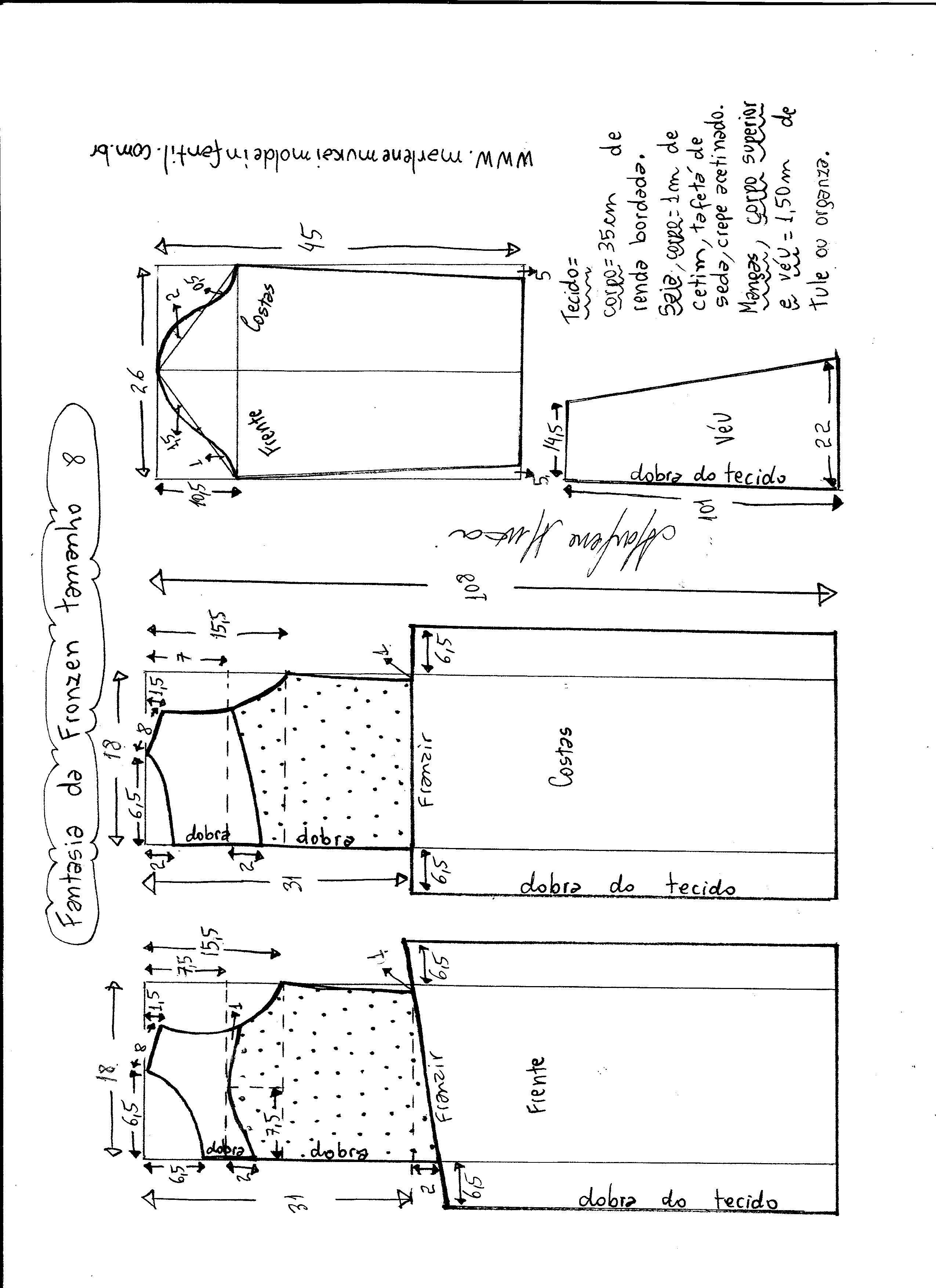 Esquema de modelagem de vestido fantasia fronzen tamanho 8.