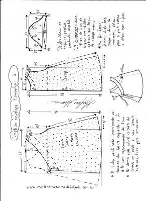 Esquema de modelagem de vestido envelope tamanho 1 ano.