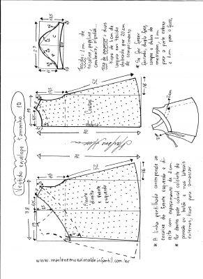 Esquema de modelagem de vestido envelope tamanho 10 anos.