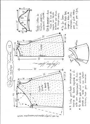 Esquema de modelagem de vestido envelope tamanho 12 anos.