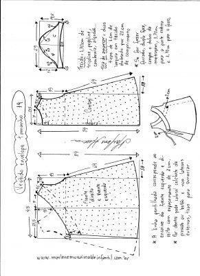Esquema de modelagem de vestido envelope tamanho 14 anos.