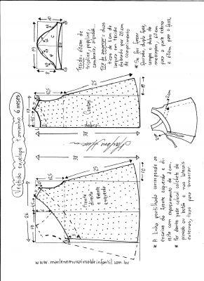 Esquema de modelagem de vestido envelope tamanho 6 meses.