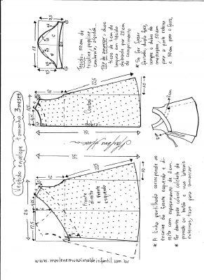 Esquema de modelagem de vestido envelope tamanho 3 meses.