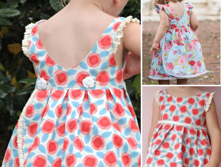 Esquema de modelagem de vestido com transpasse nas costas para crianças de 1 a 14 anos.