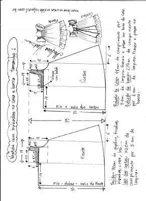 Esquema de modelagem de vestido com babado na cava e barra tamanho 1.