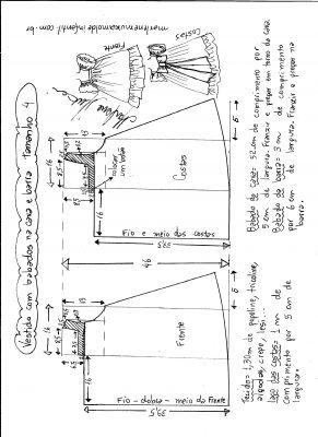 Esquema de modelagem de vestido com babado na cava e barra tamanho 4.