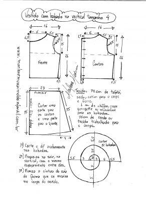 Esquema de modelagem de vestido com babado em cascata tamanho 4.