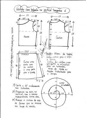 Esquema de modelagem de vestido com babado em cascata tamanho 6.