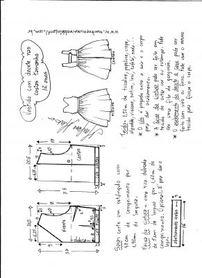 modelagem de vestido com decote nas costas tamanho 12 anos.