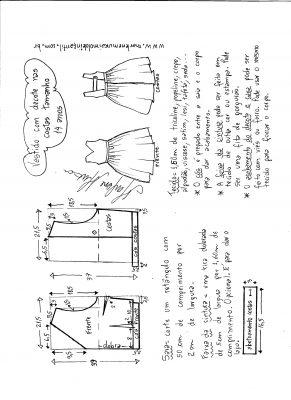 modelagem de vestido com decote nas costas tamanho 14 anos.