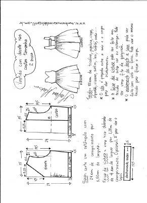 modelagem de vestido com decote nas costas tamanho 2 anos.