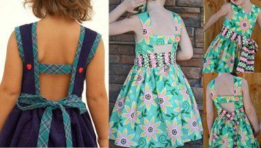 Esquema de modelagem de vestido com decote nas costas para crianças de 6 meses a 14 anos.