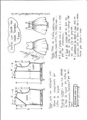 modelagem de vestido com decote nas costas tamanho 4 anos.