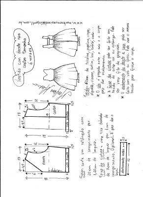 Esquema de modelagem de vestido com decote nas costas tamanho 6 meses.