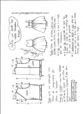 modelagem de vestido com decote nas costas tamanho 8 anos.