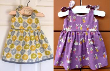 Um vestidinho simples cujo detalhe está no lacinho do ombro com esquema de modelagem para crianças de 3 meses a 14 anos.