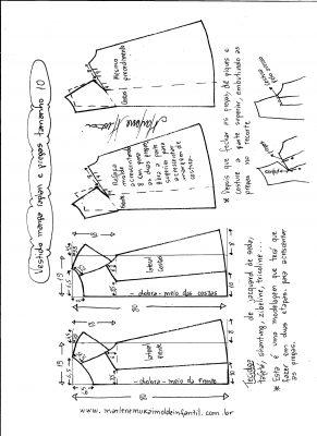 Esquema de modelagem de vestido com manga raglan e pregas tamanho 10.