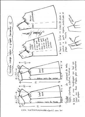 Esquema de modelagem de vestido com manga raglan e pregas tamanho 12.