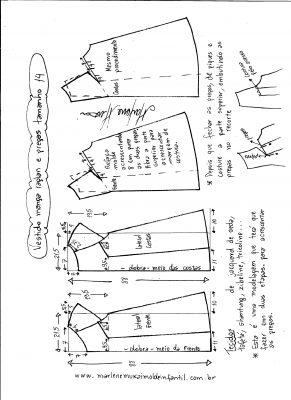Esquema de modelagem de vestido com manga raglan e pregas tamanho 14.