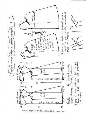Esquema de modelagem de vestido com manga raglan e pregas tamanho 8.