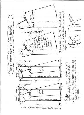 Esquema de modelagem de vestido com manga raglan e pregas tamanho 1.