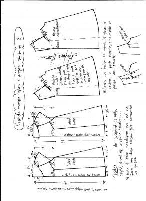Esquema de modelagem de vestido com manga raglan e pregas tamanho 2.