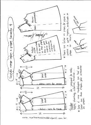 Esquema de modelagem de vestido com manga raglan e pregas tamanho 4.