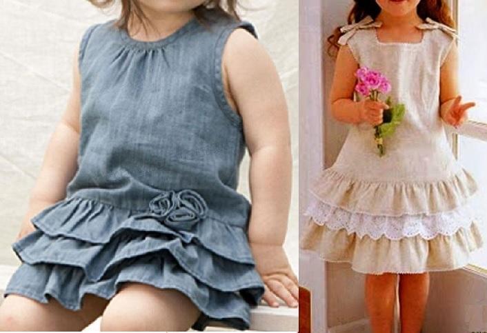 Esquema de modelagem de Vestido com babado sobreposto na barra para crianças de 3 meses a 14 anos.