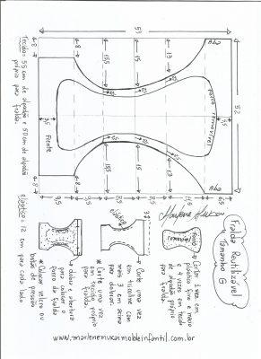 Esquema de modelagem de fralda reutilizável tamanho G.