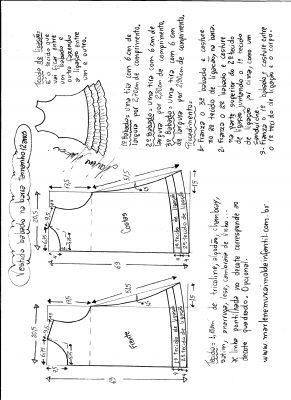 Esquema de modelagem de Vestido com babado sobreposto na barra tamanho 12 anos.