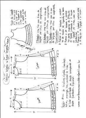 Esquema de modelagem de Vestido com babado sobreposto na barra tamanho 4 anos.