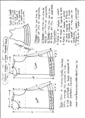 Esquema de modelagem de Vestido com babado sobreposto na barra tamanho 8 anos.
