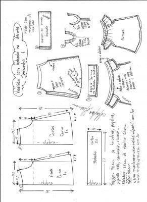 Esquema de modelagem de vestido evasê com babado no decote tamanho 1.