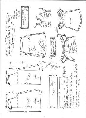 Esquema de modelagem de vestido evasê com babado no decote tamanho 10.