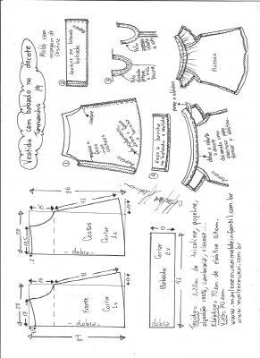 Esquema de modelagem de vestido evasê com babado no decote tamanho 14.