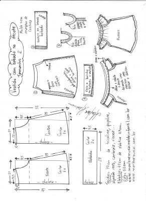 Esquema de modelagem de vestido evasê com babado no decote tamanho 2.