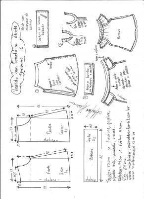 Esquema de modelagem de vestido evasê com babado no decote tamanho 6.